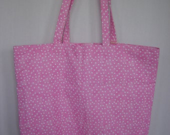 Extra Large Tote-Pink with White Dots (Bag 419)