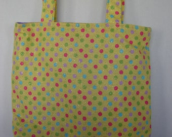 Small Tote-Pink, Blue, Green & Purple Dots on Yellow (Bag 445)