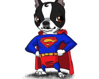 Superman - Boston Terrier Print