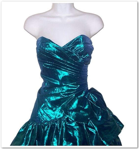 Vintage 80s Gunne Sax Metallic Prom Dress S M