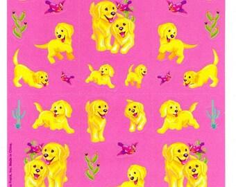 Lisa Frank Cassie in the Desert Golden Retriever Puppies Sticker Sheet Red Cardinal bird