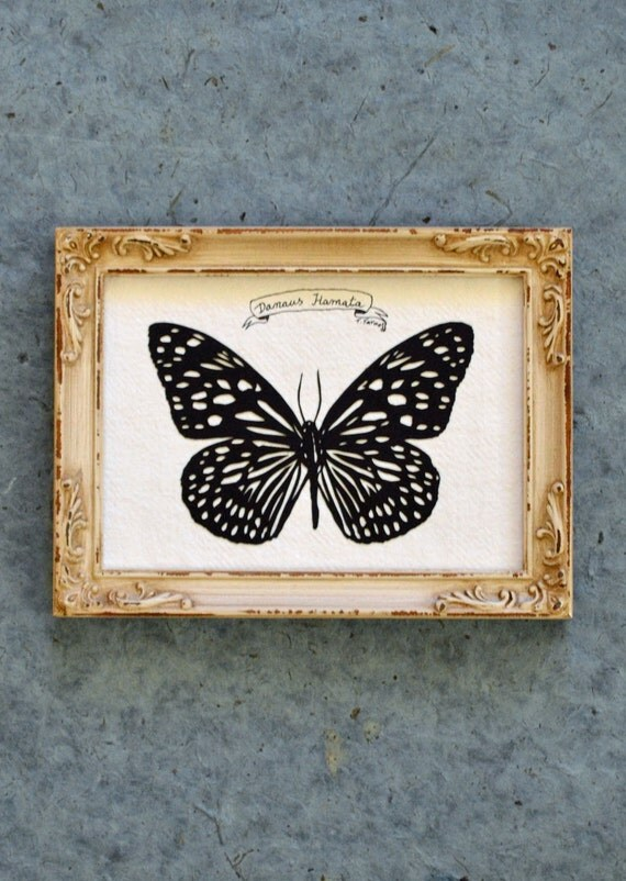 Sale 20% Off // TIGER BUTTERFLY Papercut - Hand-Cut Silhouette, Framed // Coupon Code SALE20