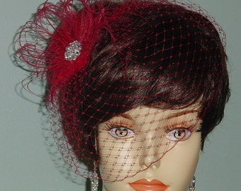 Red Birdcage Veil with Ostrich Feather Fascinator French Veiling Bride Bridesmaid - Made to Order