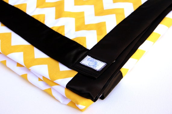 Baby Blanket Yellow Chevron with minky and black satin binding.