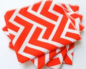 FREE OFFER Reusable ORGANIC Cloth Napkins - Set of 4- Cloud 9 - Zigzag - Coral
