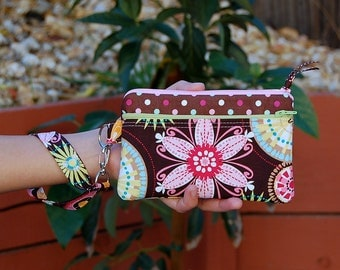 Carnival Bloom and Polka Dots - Double Zipper Wristlet Purse with Interior Pocket and Removable Strap