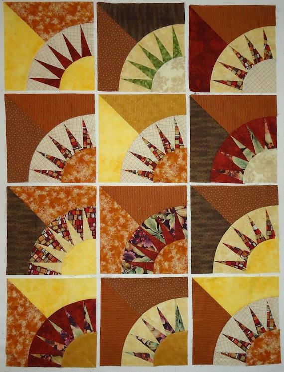 Set of 12 Nine Inch New York Beauty Pattern Quilt Blocks