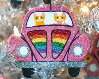 Pink Rainbow Bug Christmas Clay Cat Folk Art Ornament