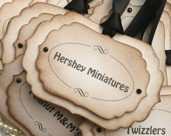 DIY Sweet Tags, Candy Buffet Tags, Candy Station Labels, Black Wedding, Sweet Labels, Candy Jar Tags, Mason Jar Tags, Wedding Favors