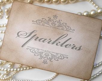 Wedding Signage, Sparklers Sign, Wedding Favors, Wedding Favor Tags, Fireworks Sign, Gray Wedding, Grey wedding decoration, Take One Sign