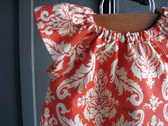 Dress Fall damask coral orange girl baby toddler by redpajamas