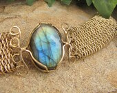 Blue and Gold Labradorite Chainmaille Bracelet - Gold Filled
