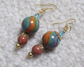 Teal Orange Earrings, Green, Polymer Clay Beads, Goldstone, Autumn Colors