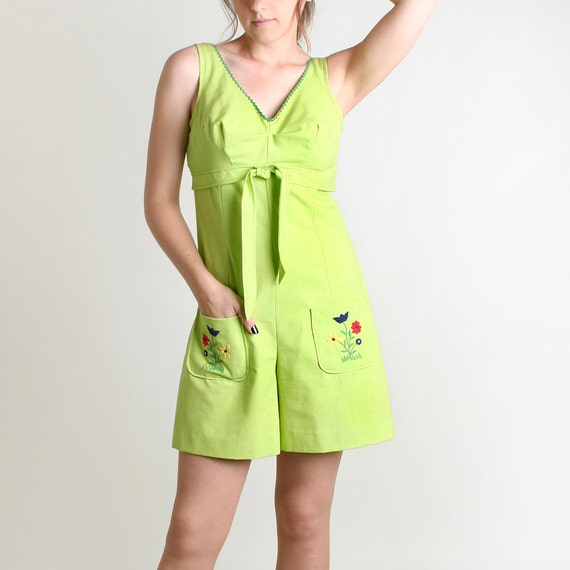 1960s Neon Romper - Vintage Lime Green Garden Flower Jumper - Medium to Large - Peridot