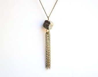 Pyrite Nugget Gold Necklace with Tassel - Vintage Oxidized Brass Chain