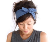 SALE Tie Up Headscarf // Fabric Hairband // Hair Wrap // Knotted Headband // Petrol Blue