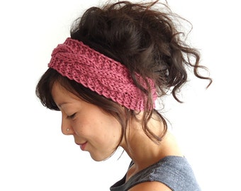 Cable Knit Headband in Rose 100% Merino Wool
