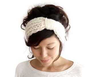 Chunky Knit Turban Headband Cream