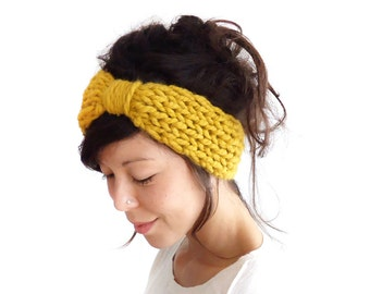 Chunky Knit Turban // Turban Headband // Knit Hairband // Woollen Headband // Winter Headband // Ear Warmers // Knitted Headband Mustard