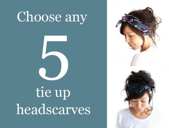 Any 5 Tie Up Headscarves // Tie Up Headscarf // Stretch Headband // Hair Wrap // Turban Headband // Yoga Hairband // Workout Headband