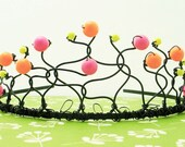 Neon Tiara - Hot Pink, Orange, and Yellow Swarovski Pearls on Black Wire, Adult or Child Day-Glo Crown, Free Shipping