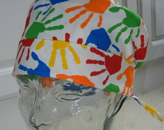 Tie Back Surgical Scrub Hat with Handprints