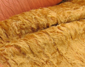 FREE POSTAGE - Marmalade - MOHAIR Fur - (Fat 1/8) -  Ginger gold on a terracotta backing  - distressed 20mm pile