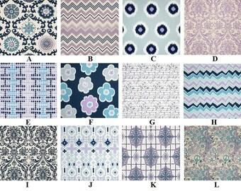 Custom Berries Lilac Navy & Aqua Blue 3-Piece Complete Boutique Crib Bedding Set made with Designer Fabrics