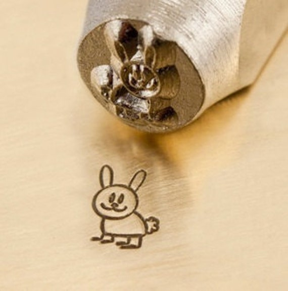 Design Stamp - HOPPER the BUNNY - 6mm stamped image by ImpressArt -  includes How to Stamp Metal tutorial