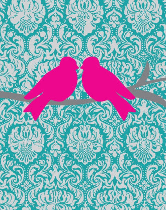 Items similar to Bird on Hot Pink, Gray and Teal Damask ...
