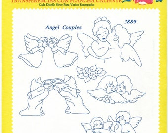 Retired Angel Couples Aunt Martha's Embroidery Transfer Designs Pattern