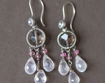 Smoky & Rose Quartz Pink Tourmaline Oxidized Sterling Silver Wire Wrap Chandelier Dangle Earrings