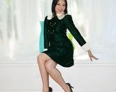 Green Velvet  Vintage 60s Mini Dress White Satin Collar Cuffs Mod Chains S M