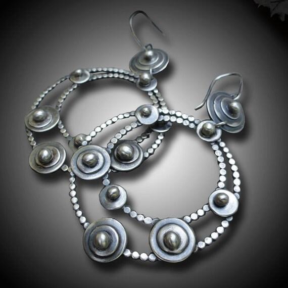 Hoop  Earrings Sterling Silver Dangling Earrings  Large Constellation hoop Earrings