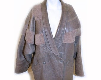 SALE Vintage 1980s Quilted Leather Artisan Jacket  by Hannah Pang