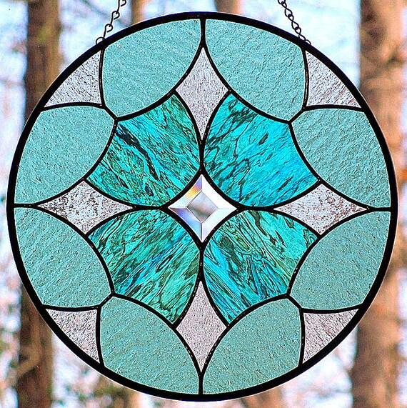 Sea Green Stained Glass Beveled Star Round Suncatcher