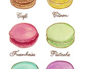 Original Watercolour Painting Print - Laduree Macarons