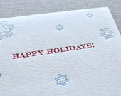 Letterpress Happy Holidays Snowflake Card and Envelope