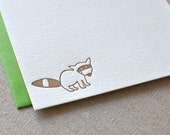 Raccoon Letterpress Stationery Cards with Envelopes, Set of 6