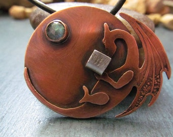 Dragon  Necklace on  Leather Cord Copper and Silver