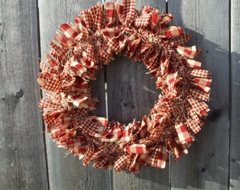 Petite MINI Rag Wreath Warm Red Tan Gingham Check Homespun Handmade Rustic