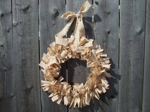 Annabelle Petite Rag Wreath Shabby Homespun Fabric Handmade Pink Cream Spring Wreath