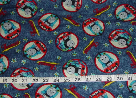 Thomas the train fabric 2 yards by chaneylakegirl on etsy for Train fabric by the yard