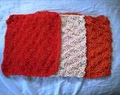 3 knit cotton dishcloths red orange cream  waffle weave pattern