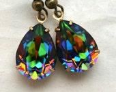 Rainbow Swarovski Crystal Stone Tear Drop Earrings