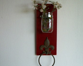 Wood Kitchen or Bathroom Wall Shelf  with Towel Ring  fleu de lis Shabby Chic Primitive Cherry Red Color Shabby Cottage Chic