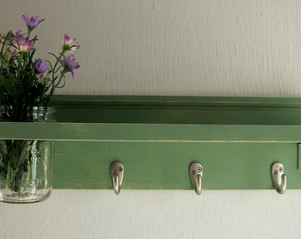 Primitive Country Sage Green Wood  Hooks Cottage Mason Jar Wall Shelf