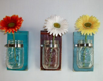Three Amazing Shabby Colorful Chic  Flower Holder Jars
