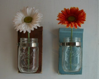 Two Flowers Wood Wall Flower Mason Jar Shelf  Robin Egg Blue & Barn Red Color