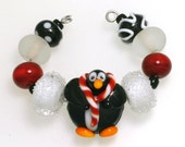 LeahBeads-Mr. Penguin Needs A New Home-Lampwork Beads